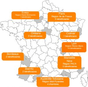 carte France de nos bénéficiaires